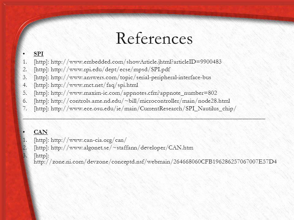 References SPI. [http]: http://www.embedded.com/showArticle.jhtml articleID=9900483. [http]: http://www.rpi.edu/dept/ecse/mpsd/SPI.pdf.